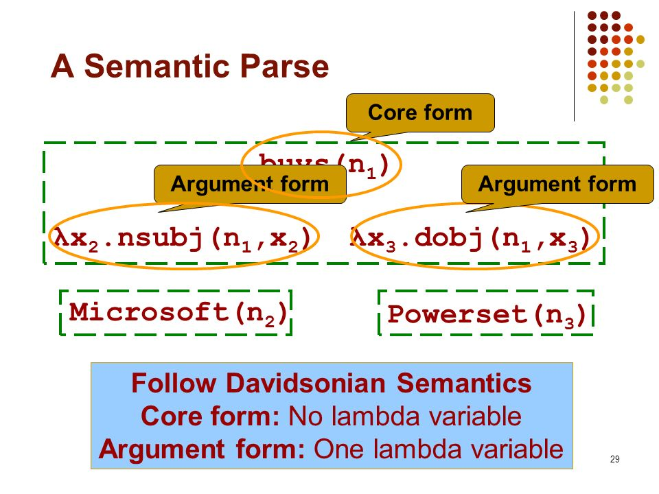Follow Davidsonian Semantics