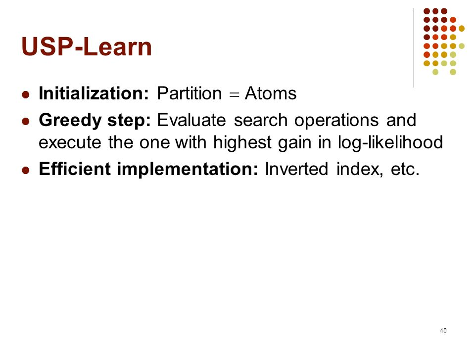 USP-Learn Initialization: Partition  Atoms
