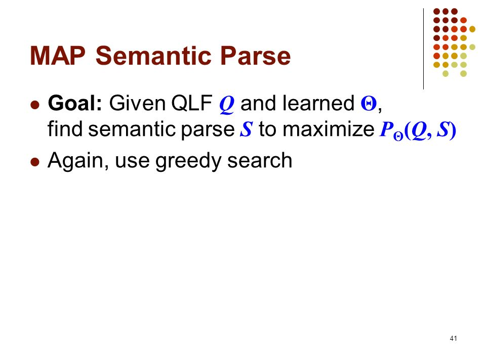 MAP Semantic Parse Goal: Given QLF Q and learned Θ, find semantic parse S to maximize PΘ(Q, S)