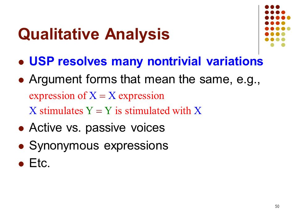 Qualitative Analysis USP resolves many nontrivial variations