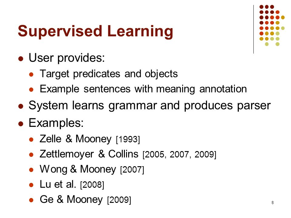 Supervised Learning User provides: