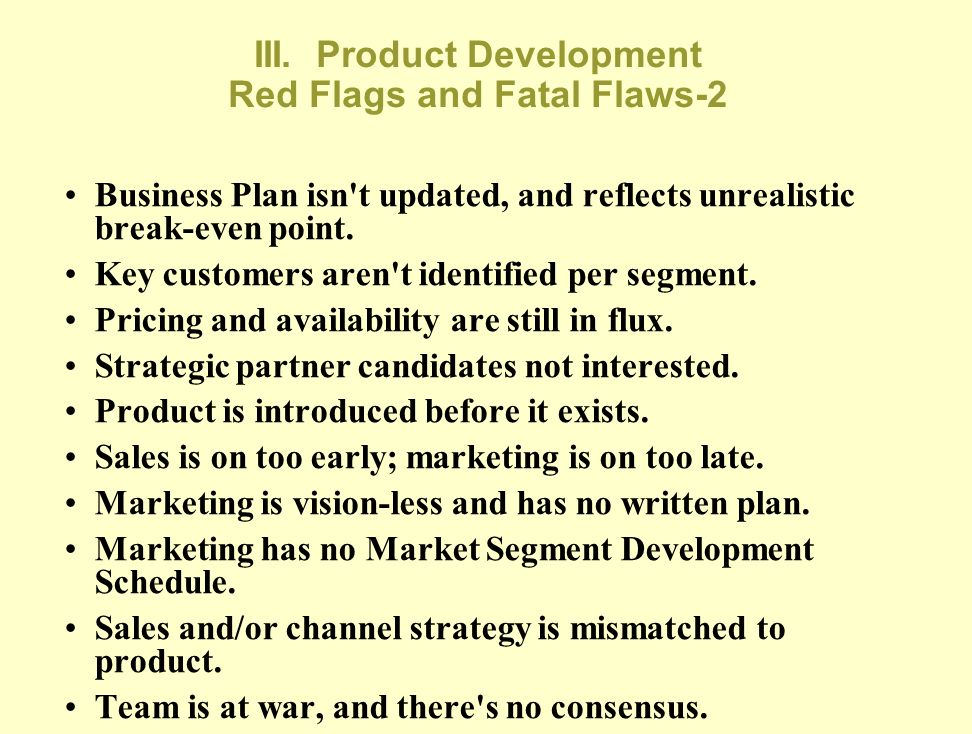 III. Product Development Red Flags and Fatal Flaws-2