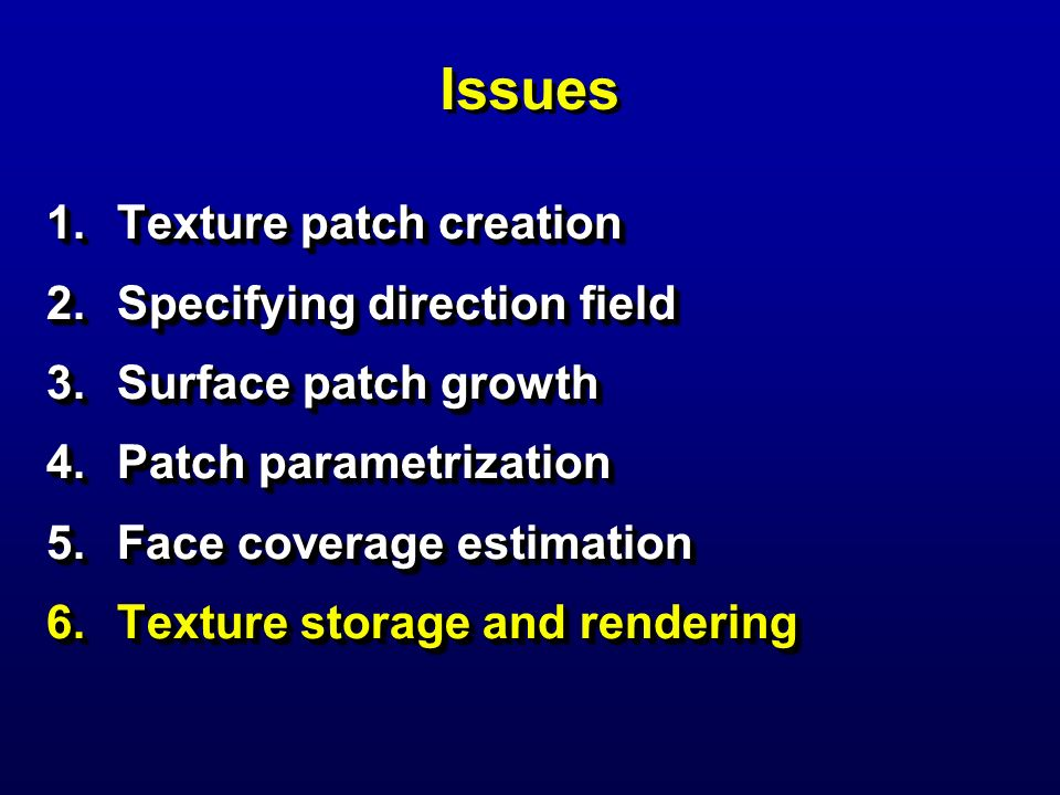 Issues Texture patch creation Specifying direction field