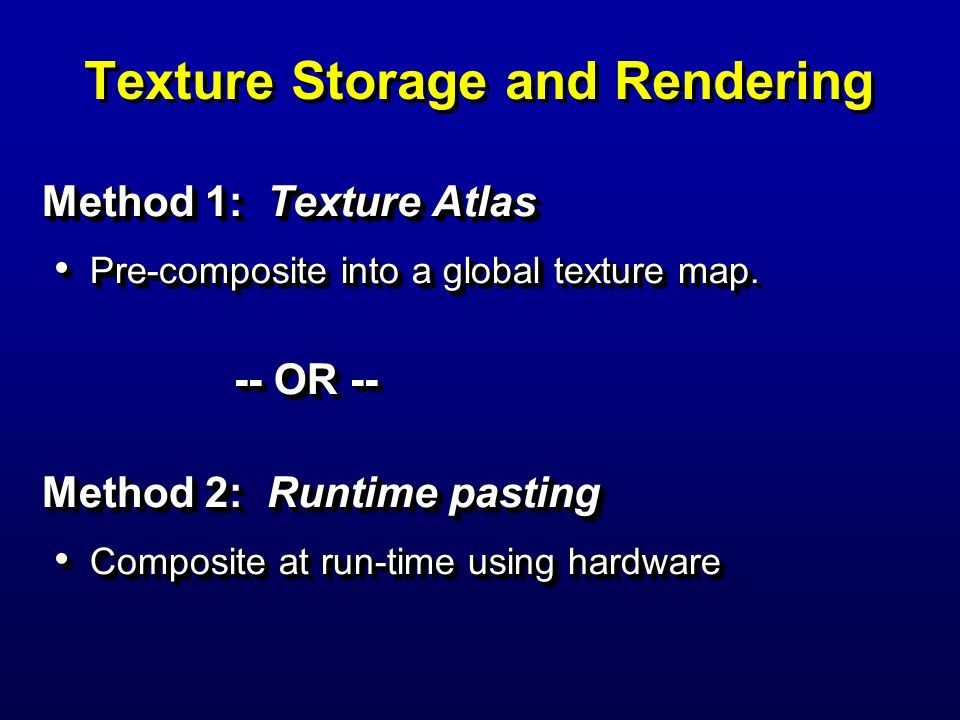 Texture Storage and Rendering