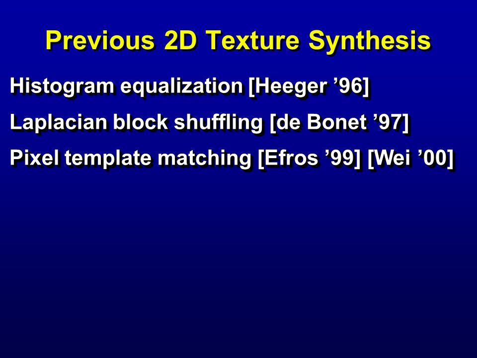Previous 2D Texture Synthesis