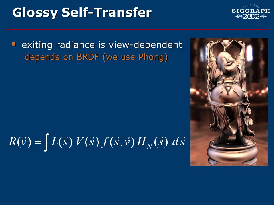 Glossy Self-Transfer exiting radiance is view-dependent