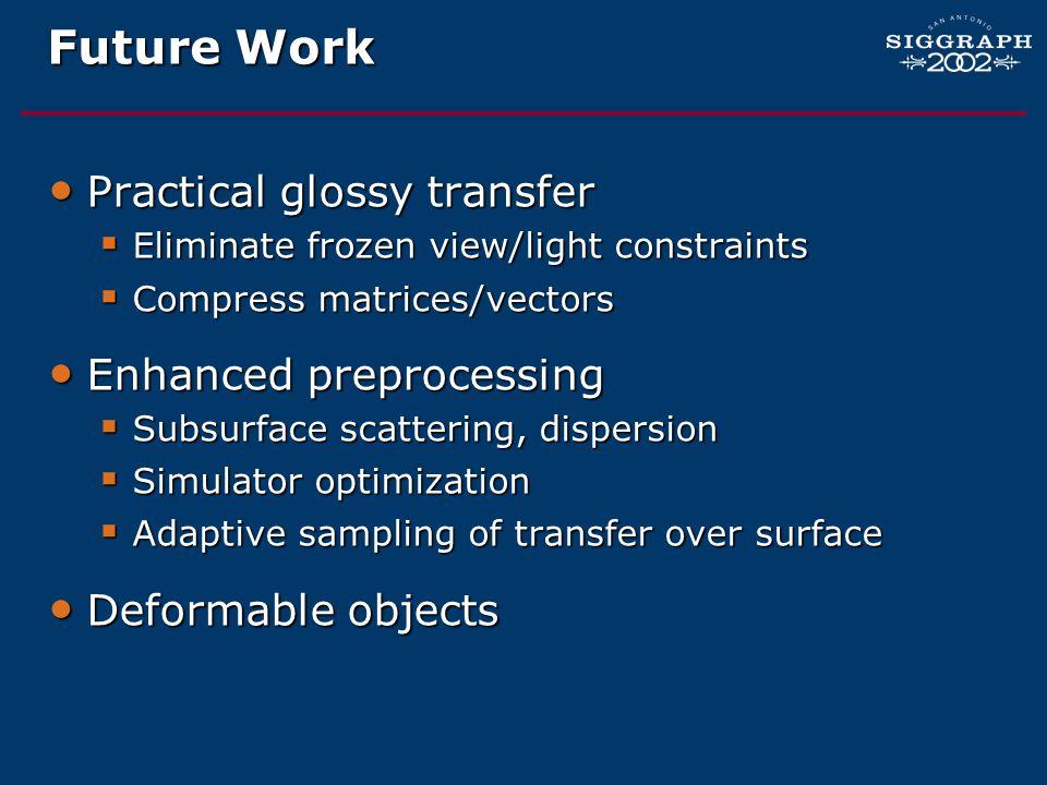 Future Work Practical glossy transfer Enhanced preprocessing