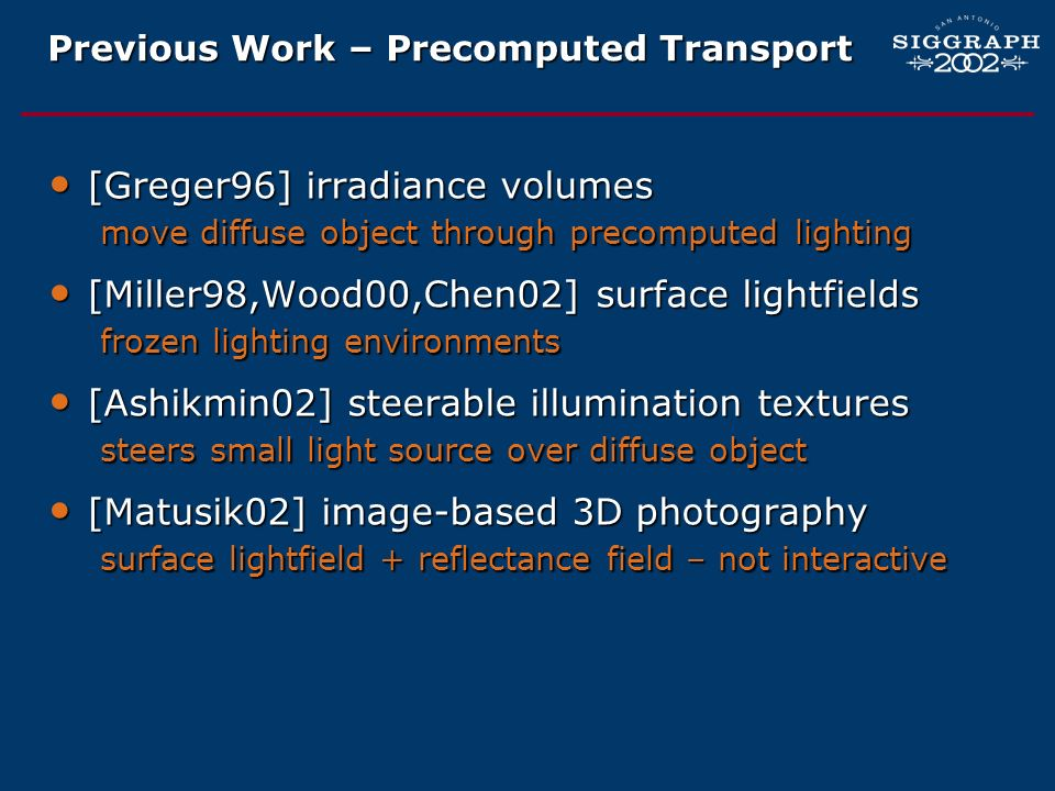 Previous Work – Precomputed Transport