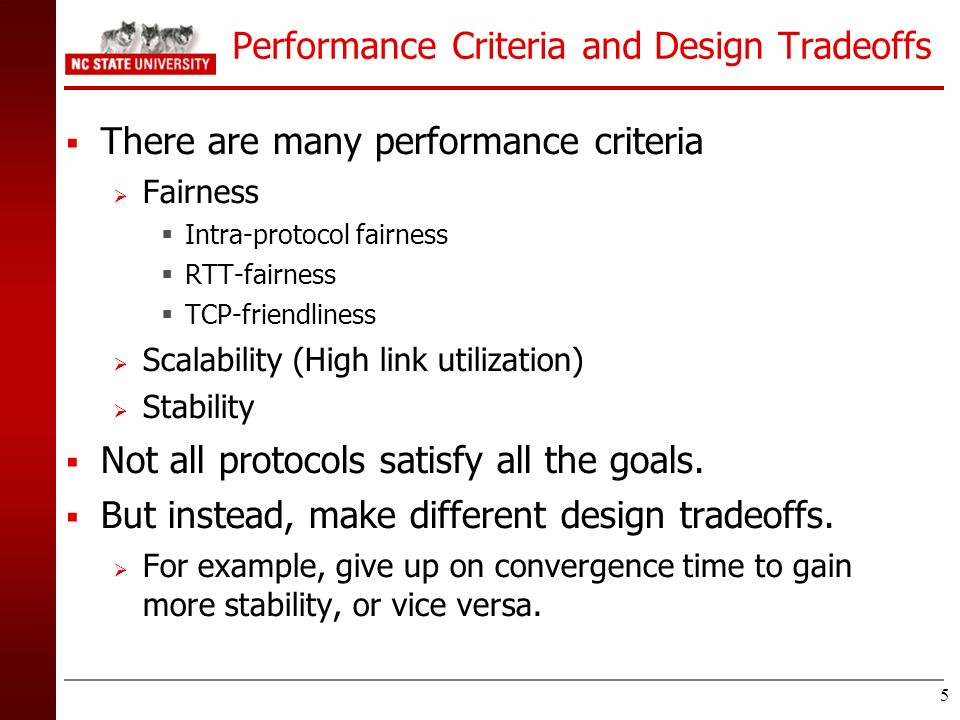 Performance Criteria and Design Tradeoffs