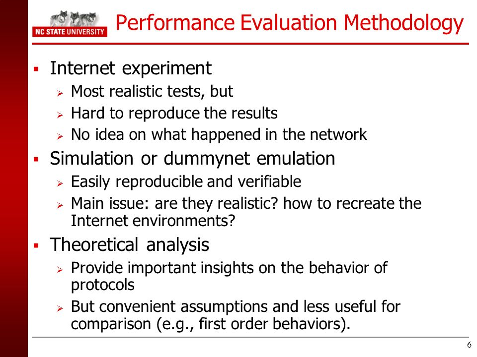 Performance Evaluation Methodology