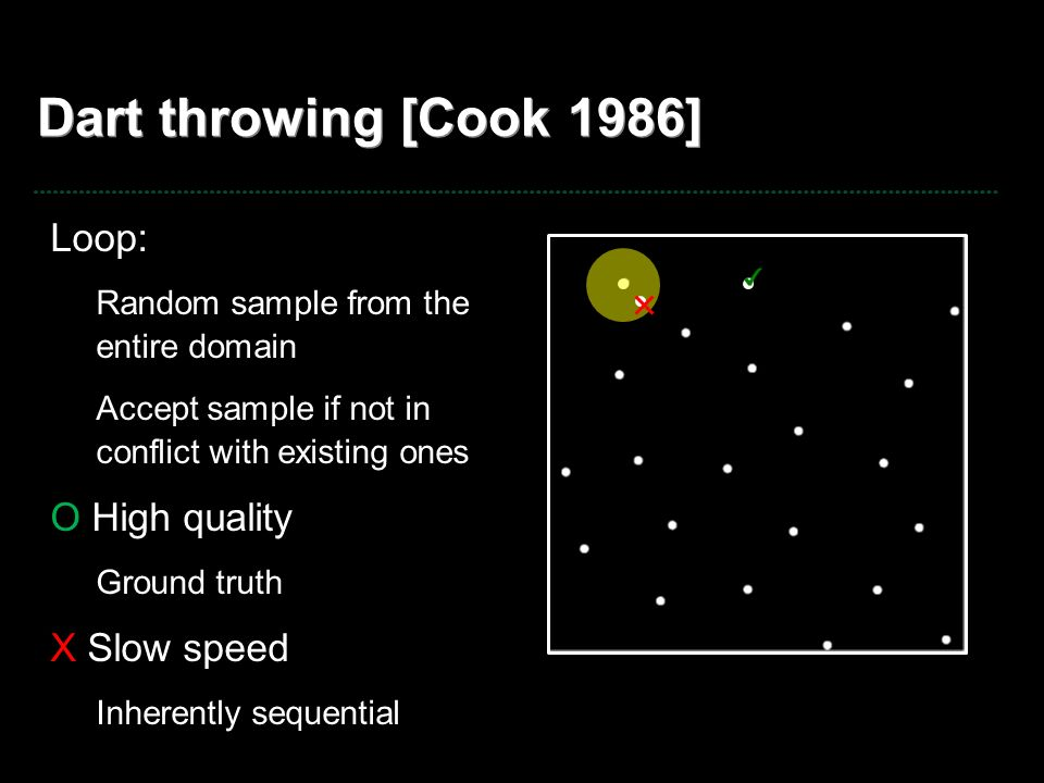Dart throwing [Cook 1986] Loop: O High quality X Slow speed