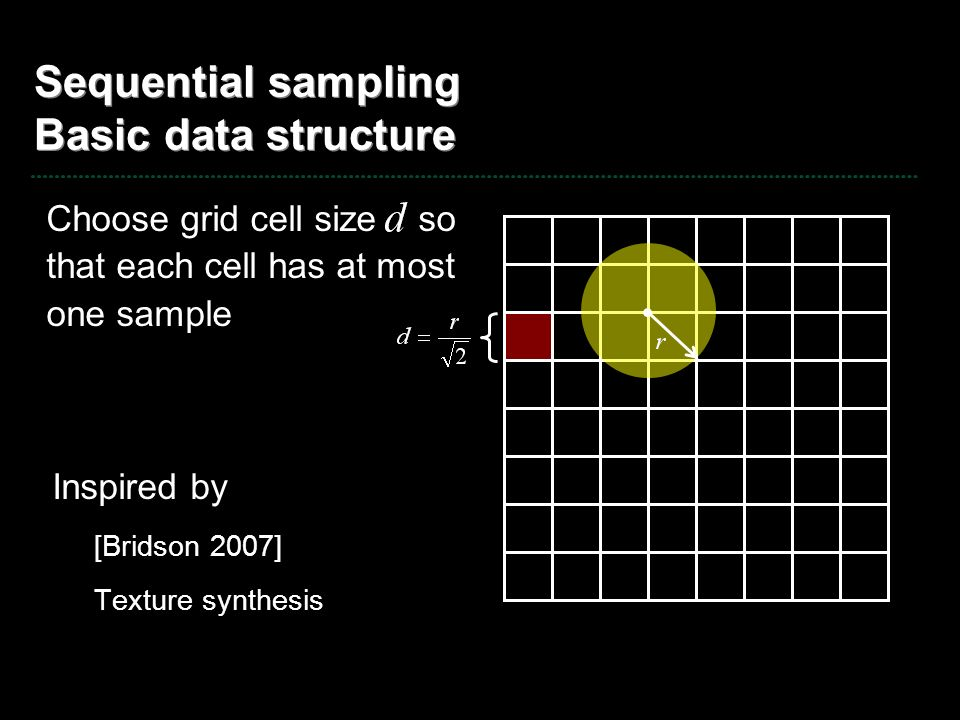 Sequential sampling Basic data structure