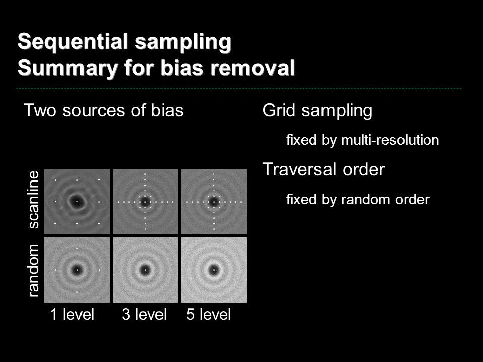Sequential sampling Summary for bias removal