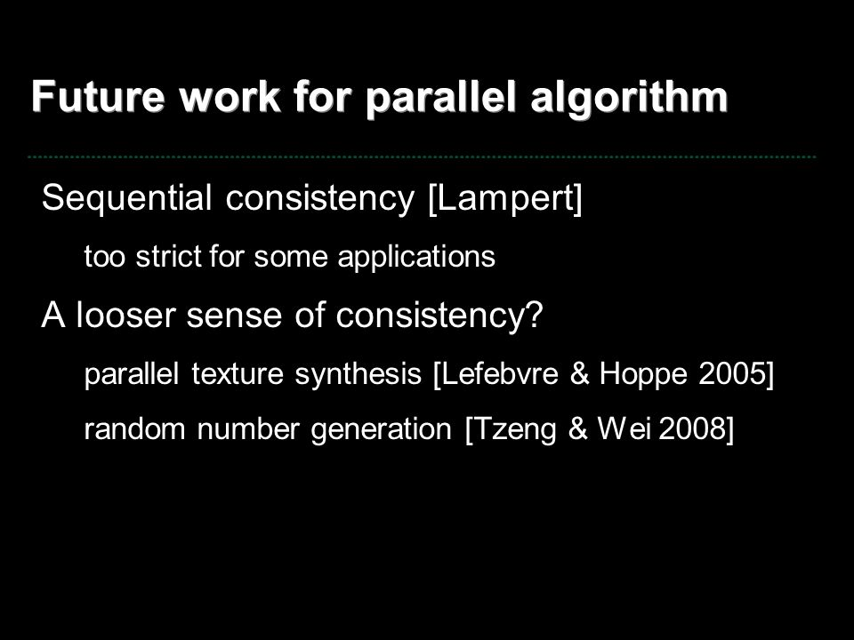 Future work for parallel algorithm