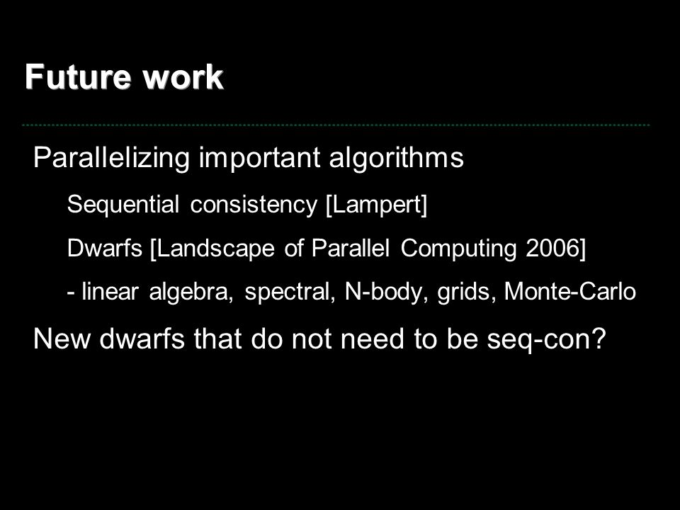 Future work Parallelizing important algorithms