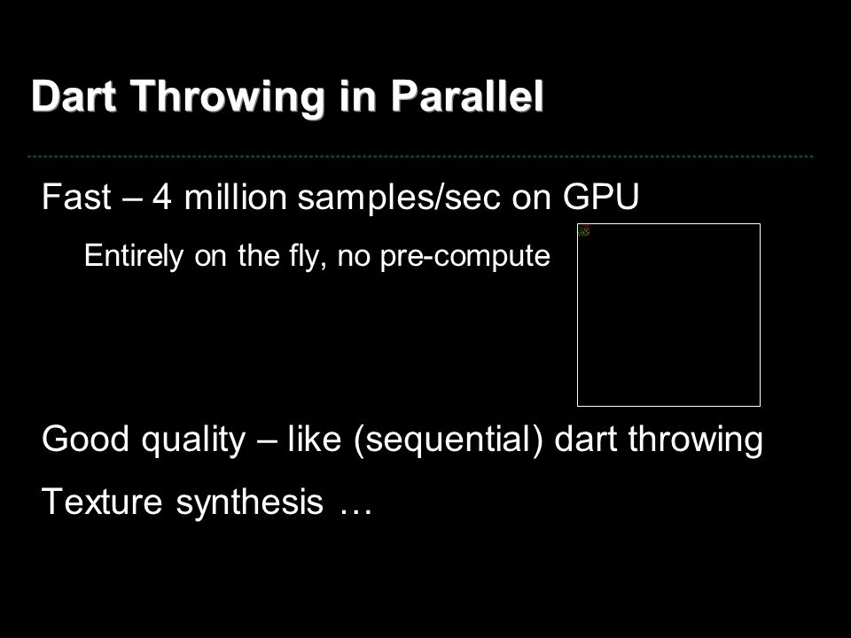 Dart Throwing in Parallel