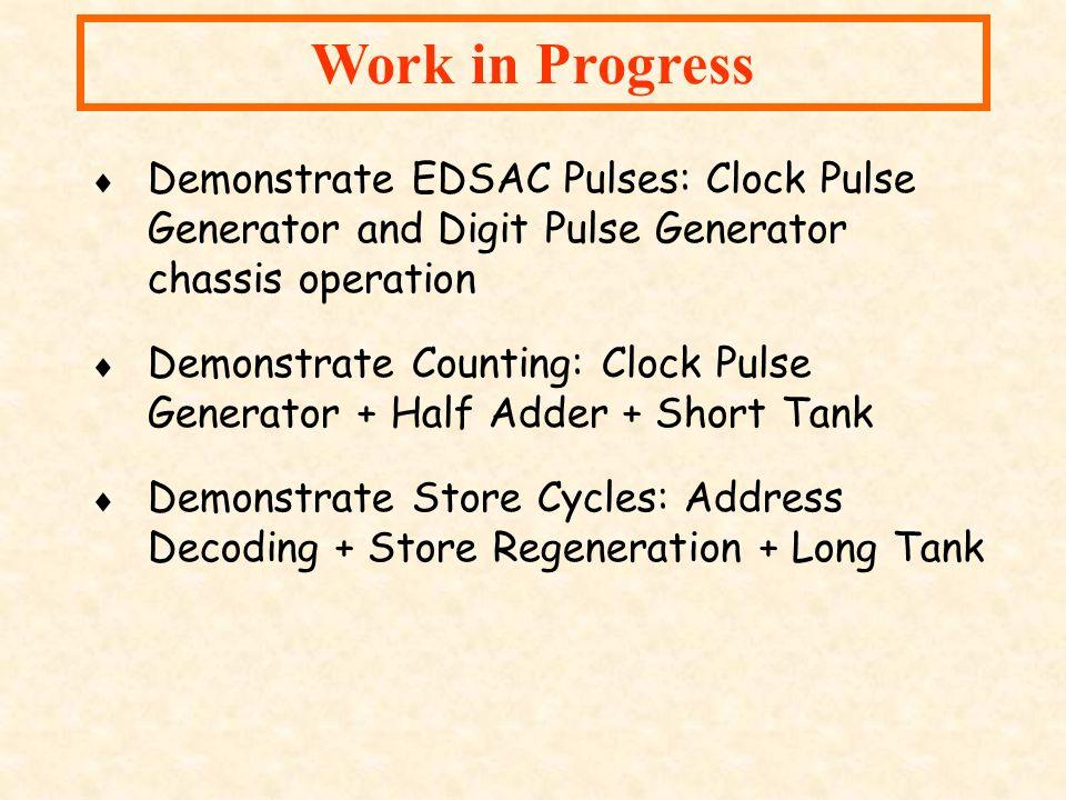 Work in Progress Demonstrate EDSAC Pulses: Clock Pulse Generator and Digit Pulse Generator chassis operation.