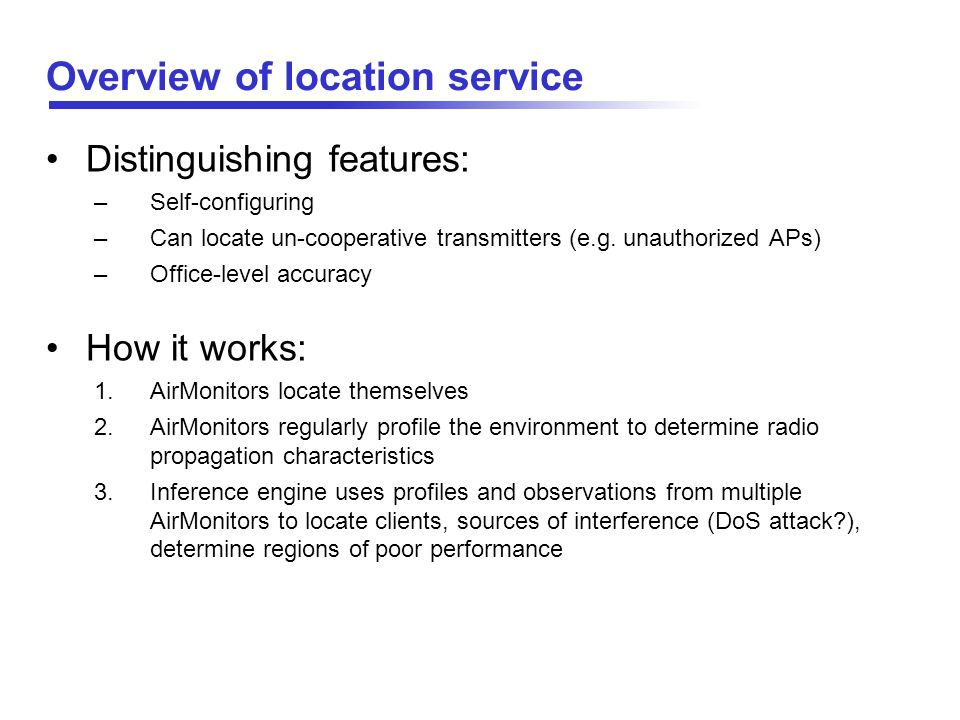 Overview of location service