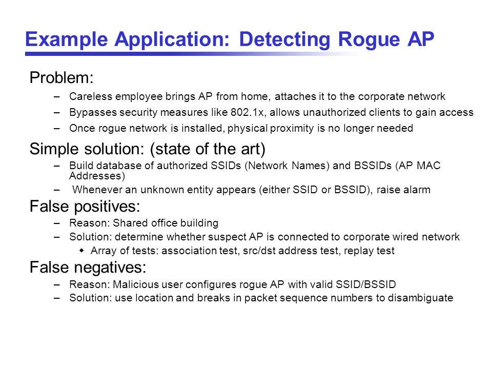 Example Application: Detecting Rogue AP