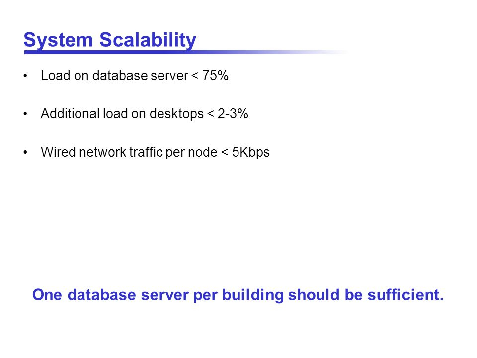 One database server per building should be sufficient.