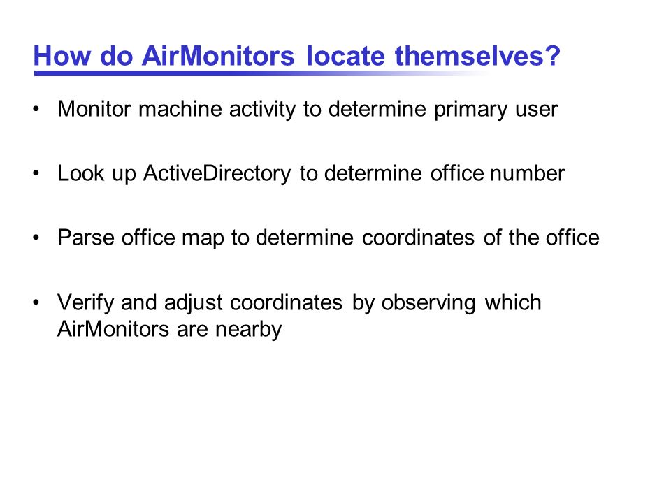 How do AirMonitors locate themselves