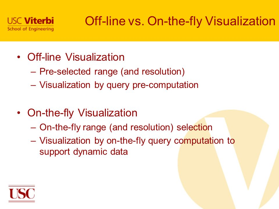 Off-line vs. On-the-fly Visualization