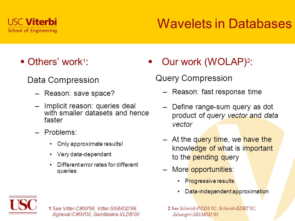 Wavelets in Databases Our work (WOLAP)2: Others' work1: