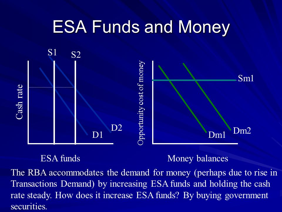 ESA Funds and Money S1 S2 Sm1 Cash rate D2 Dm2 D1 Dm1 ESA funds