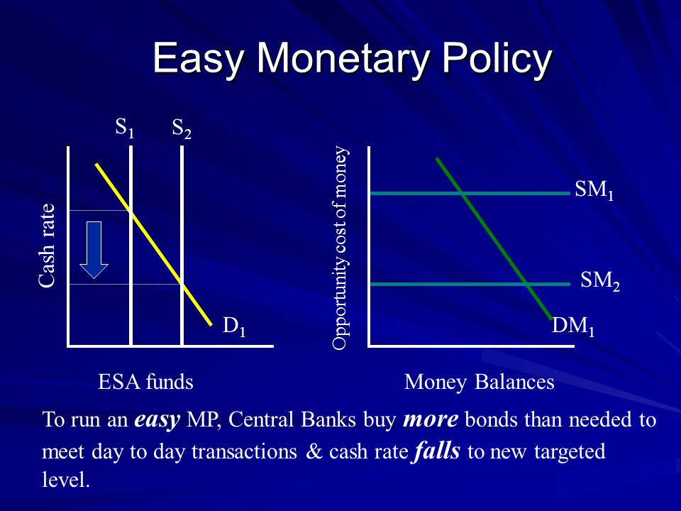 Easy Monetary Policy S1 S2 SM1 Cash rate SM2 D1 DM1 ESA funds