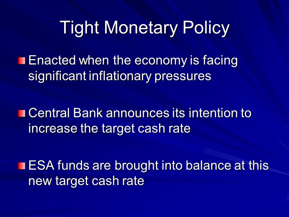 Tight Monetary Policy Enacted when the economy is facing significant inflationary pressures.
