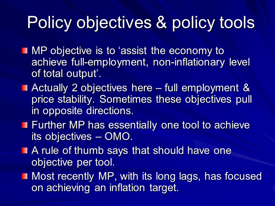 Policy objectives & policy tools