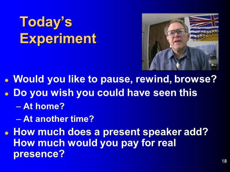 Today's Experiment Would you like to pause, rewind, browse