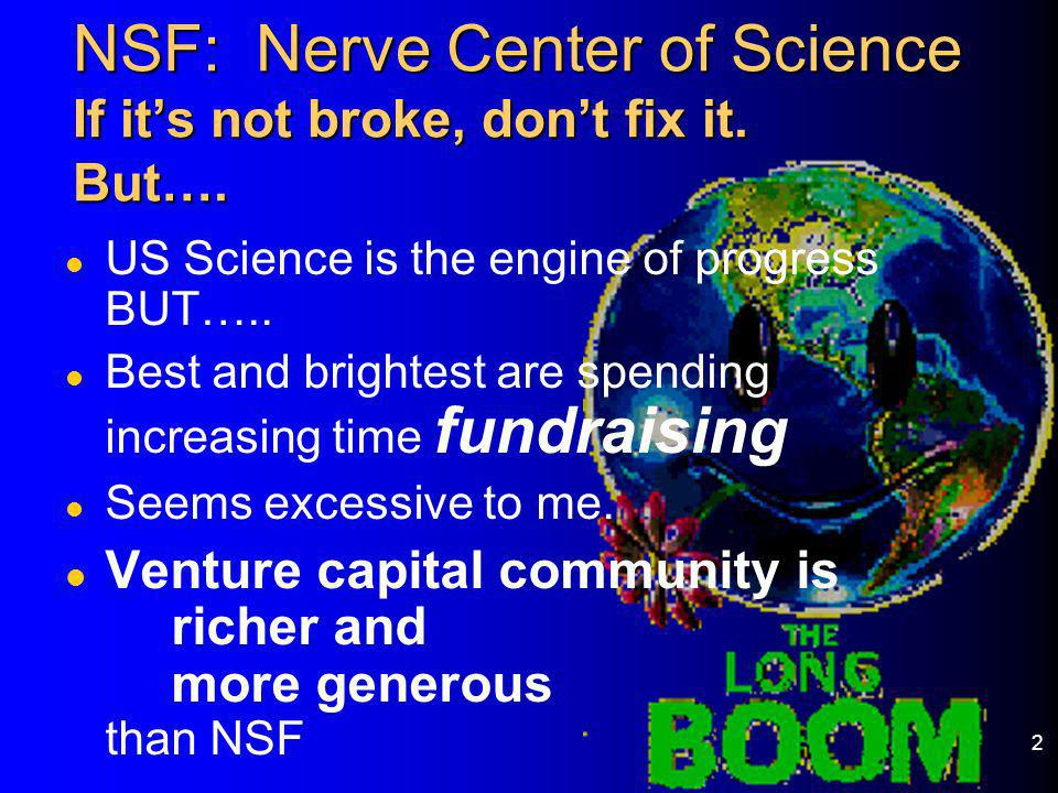 NSF: Nerve Center of Science If it's not broke, don't fix it. But….
