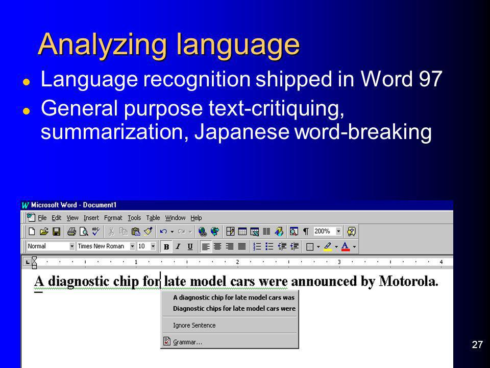Analyzing language Language recognition shipped in Word 97