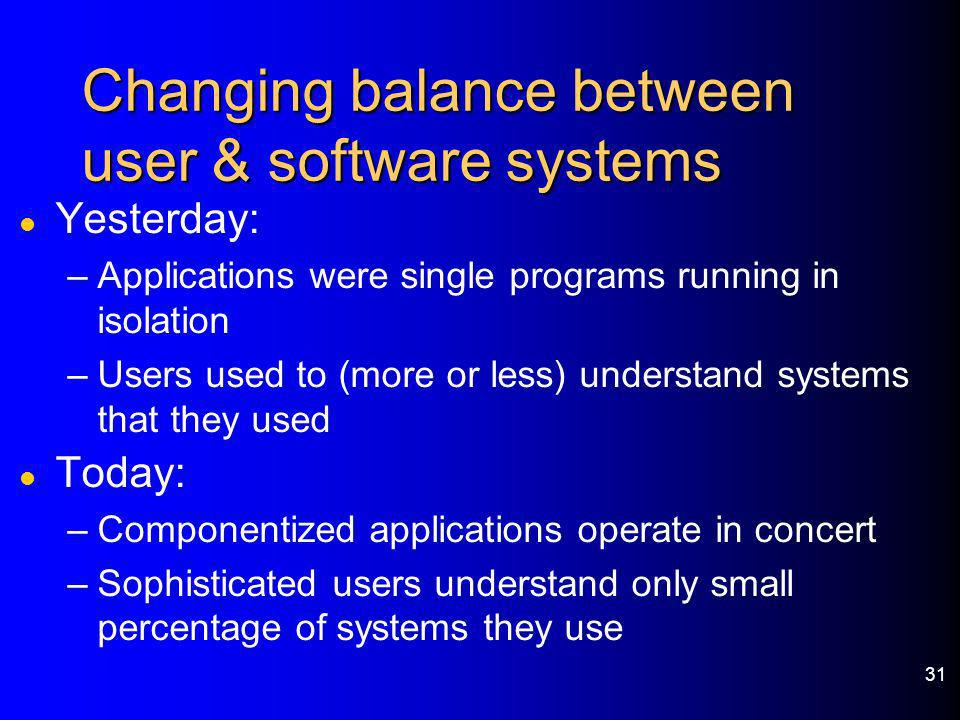 Changing balance between user & software systems
