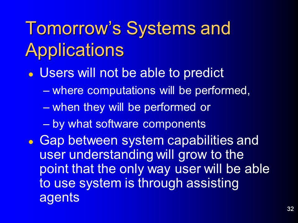 Tomorrow's Systems and Applications