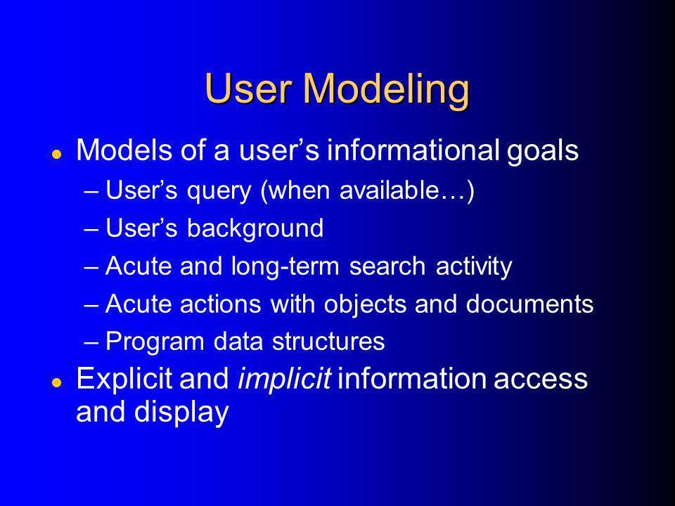 User Modeling Models of a user's informational goals