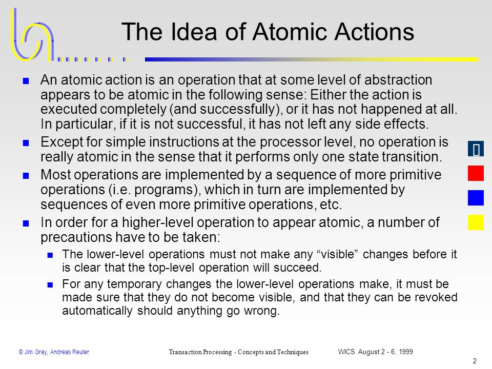The Idea of Atomic Actions
