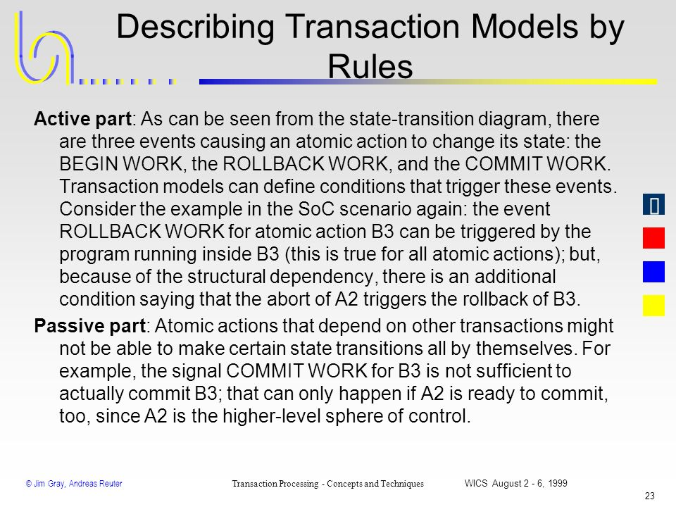 Describing Transaction Models by Rules