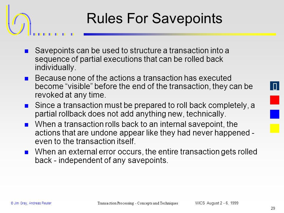 Rules For Savepoints Savepoints can be used to structure a transaction into a sequence of partial executions that can be rolled back individually.