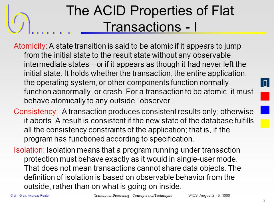 The ACID Properties of Flat Transactions - I