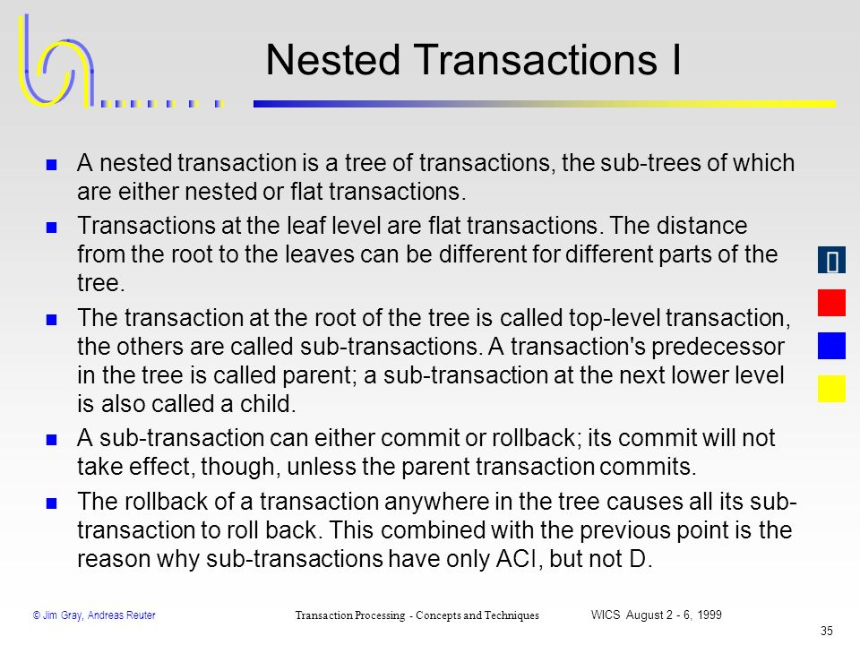 Nested Transactions I A nested transaction is a tree of transactions, the sub-trees of which are either nested or flat transactions.