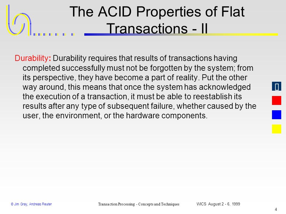 The ACID Properties of Flat Transactions - II