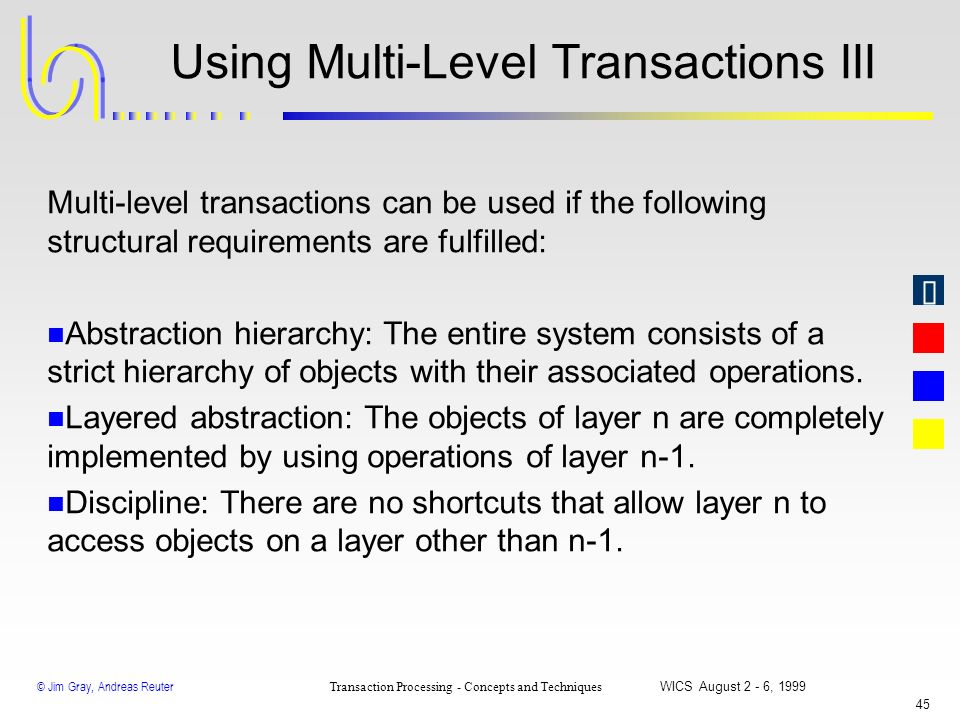 Using Multi-Level Transactions III