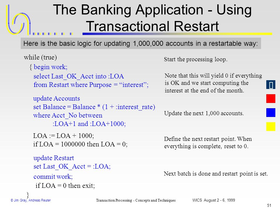 The Banking Application - Using Transactional Restart