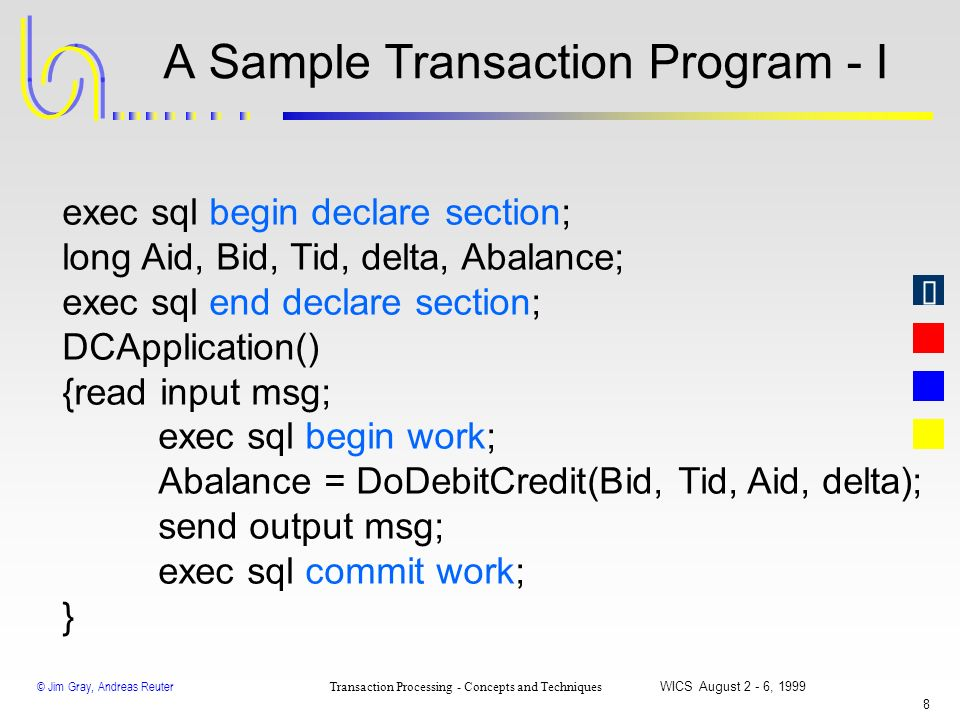 A Sample Transaction Program - I