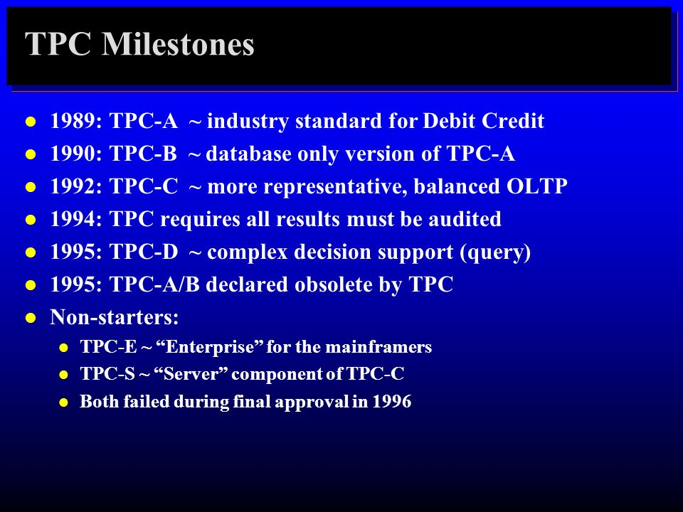 TPC Milestones 1989: TPC-A ~ industry standard for Debit Credit