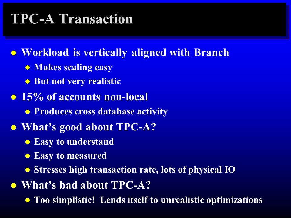 TPC-A Transaction Workload is vertically aligned with Branch