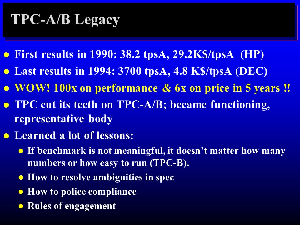 TPC-A/B Legacy First results in 1990: 38.2 tpsA, 29.2K$/tpsA (HP)