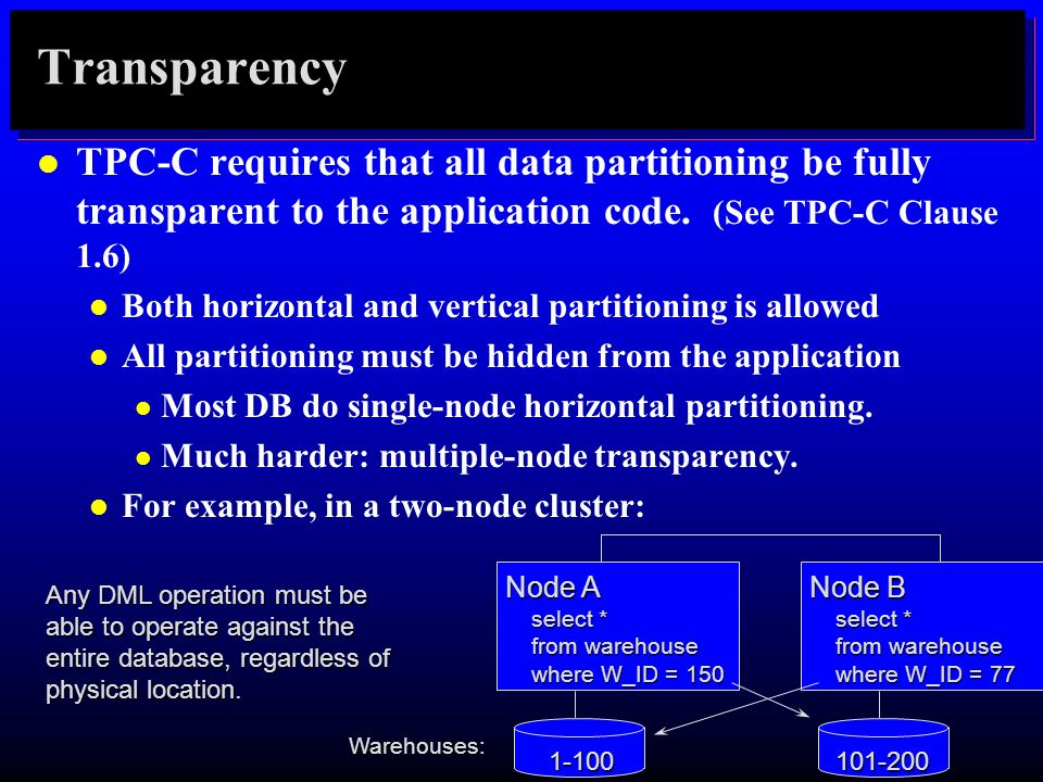 TransparencyTPC-C requires that all data partitioning be fully transparent to the application code. (See TPC-C Clause 1.6)